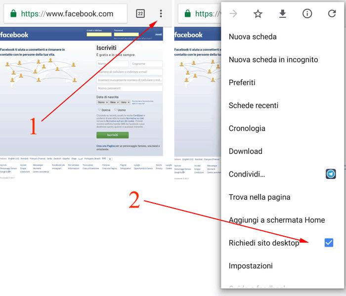 richiedere versione desktop del sito di fb
