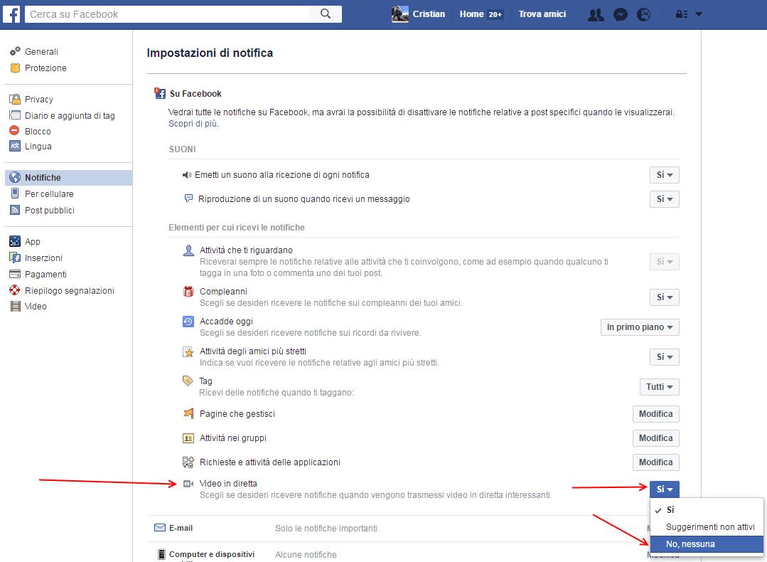 come disattivare notifiche dirette facebook