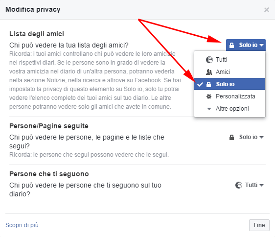 privacy di facebook per lista amici