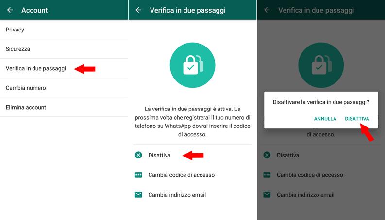 disattivare verifica in due passaggi whatsapp