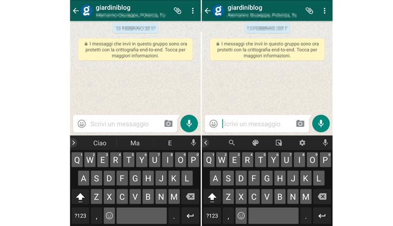 eliminare pulsante G tastiera android gboard