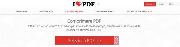 I love PDF riduzione delle dimensioni di un file PDF