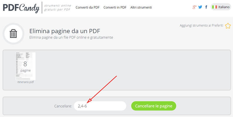 elimina pagine specifiche da file pdf