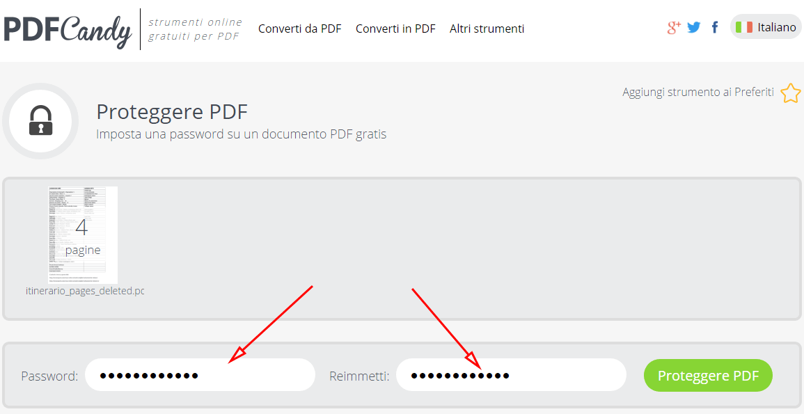 proteggere un pdf con password