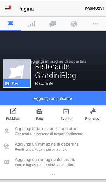 pagina facebook vista da mobile