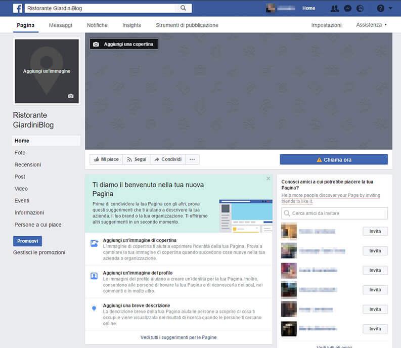 Completa profilo pagina facebook