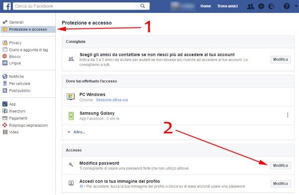 protezione e accesso per modifica password di facebook