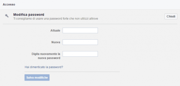 modifica la password su fb