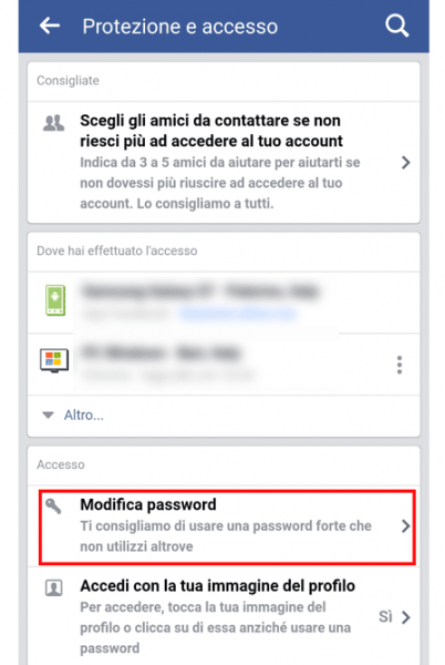 mobile modifica password fb