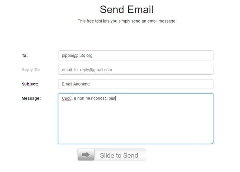 Mandare email anonime