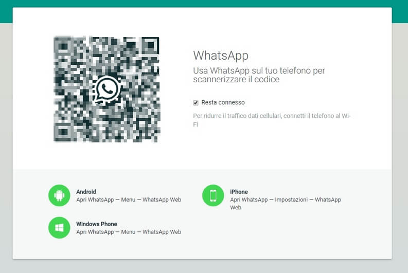 Autentificazione codice Qr WhatsApp Web