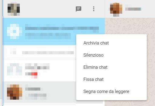 opzioni chat whatsapp web