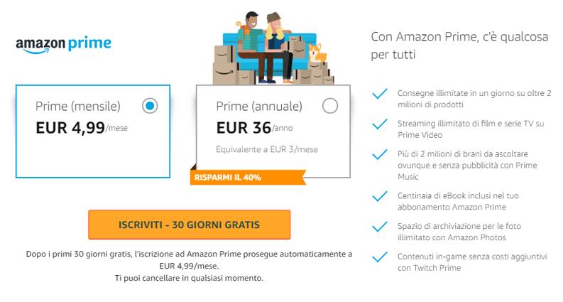 costo amazon prime