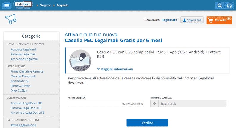 attiva pec gratis 6 mesi legalmail infocert