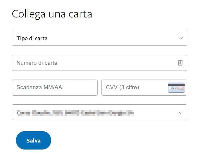 Inserire dati di una carta di credito a paypal
