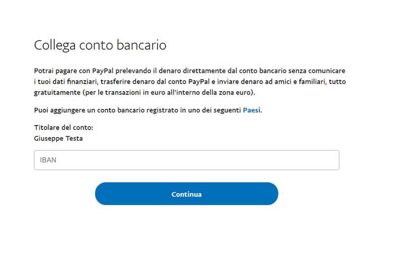 Collega un conto bancario a Paypal
