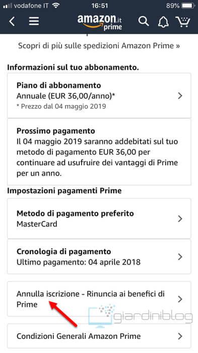disattivare amazon prime app