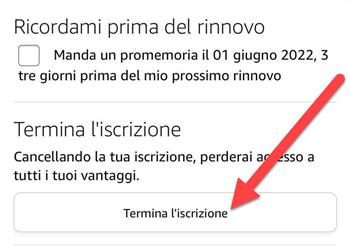 Termina Iscrizione Amazon Prime