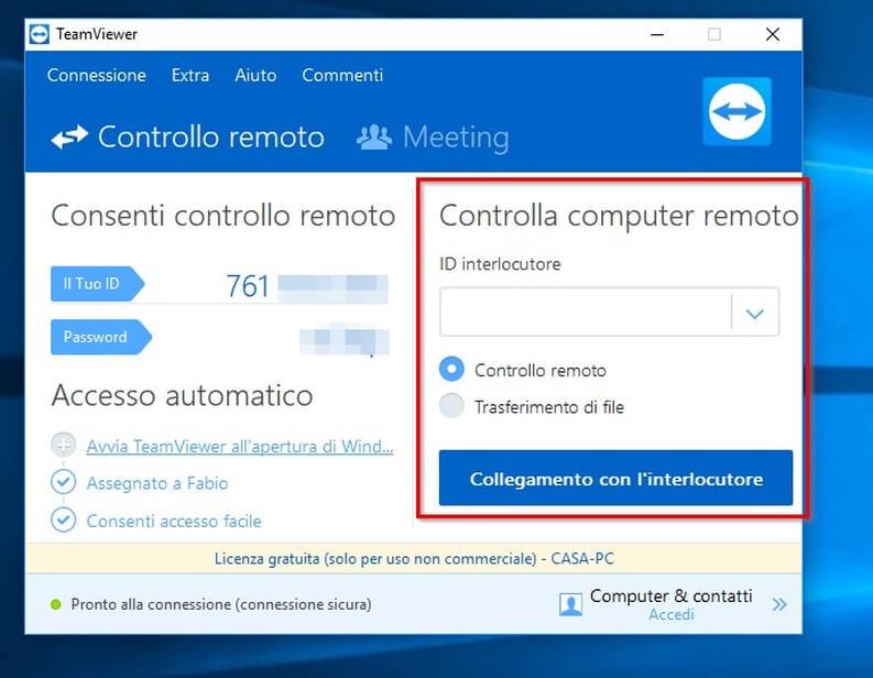 Accesso remoto TeamViewer