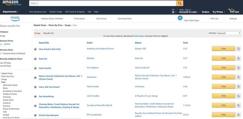amazon come sito per musica da scaricare