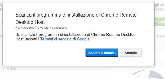 Scarica il programma di installazione di Chrome Remote Desktop