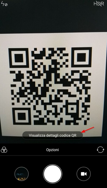 Come effettuare la scansione di un QR code