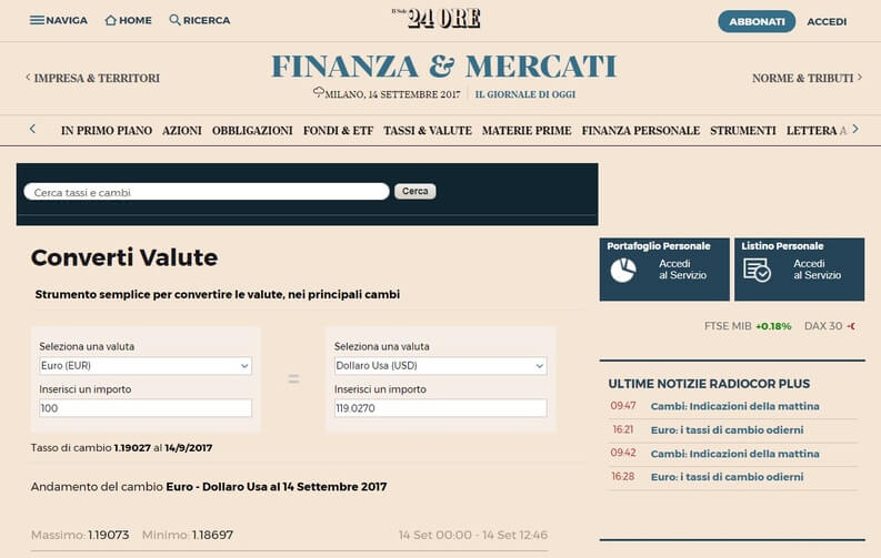 cambio valuta il sole 24 ore