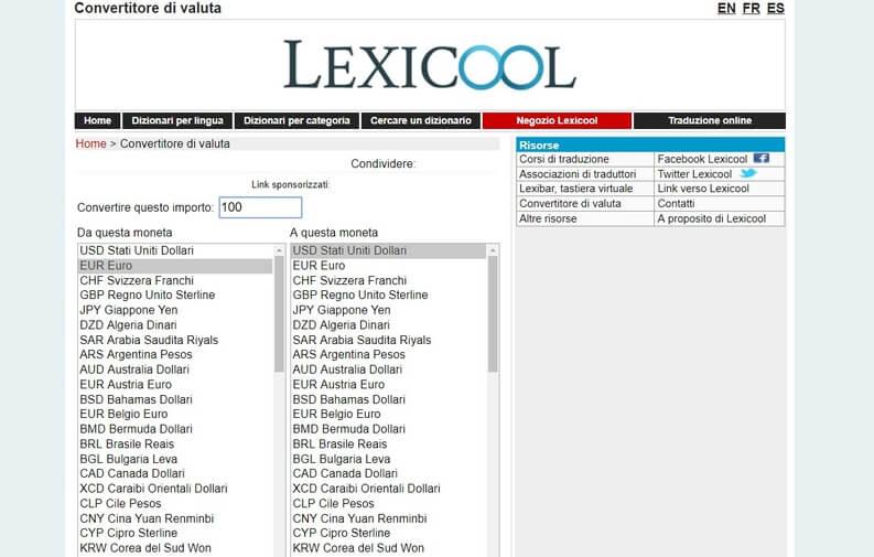 convertitore di valuta lexicool