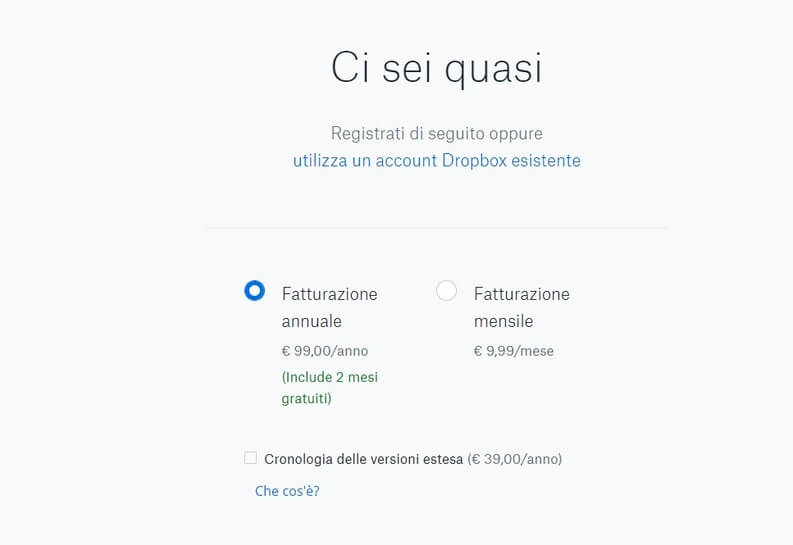 spazio su cloud con dropbox