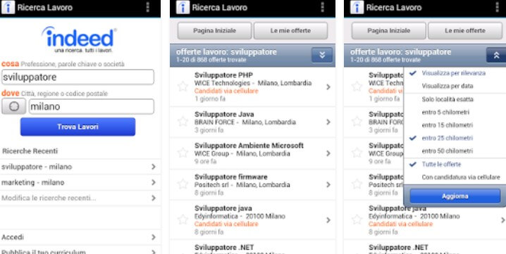 applicazione Indeed Job Search
