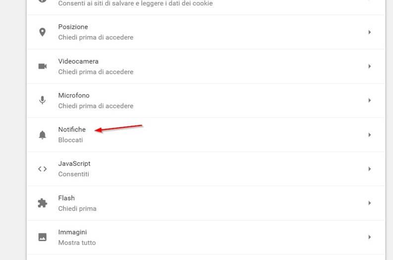 Notifiche > Bloccati nel menu di Google Chrome