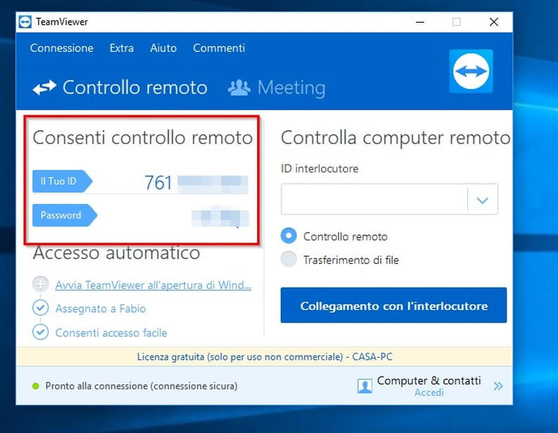 Password e ID TeamViewer