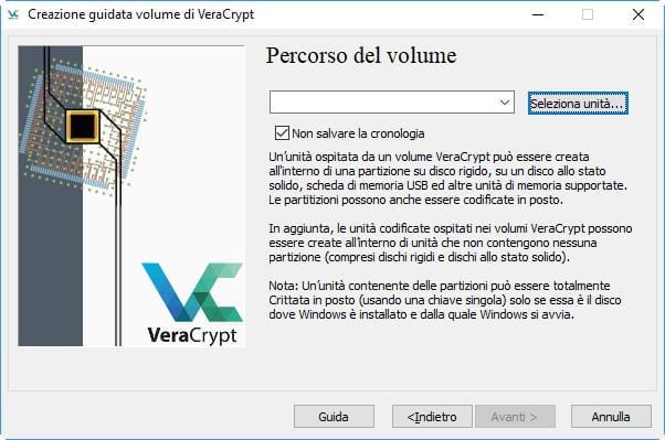 creazione di un volume veracrypt