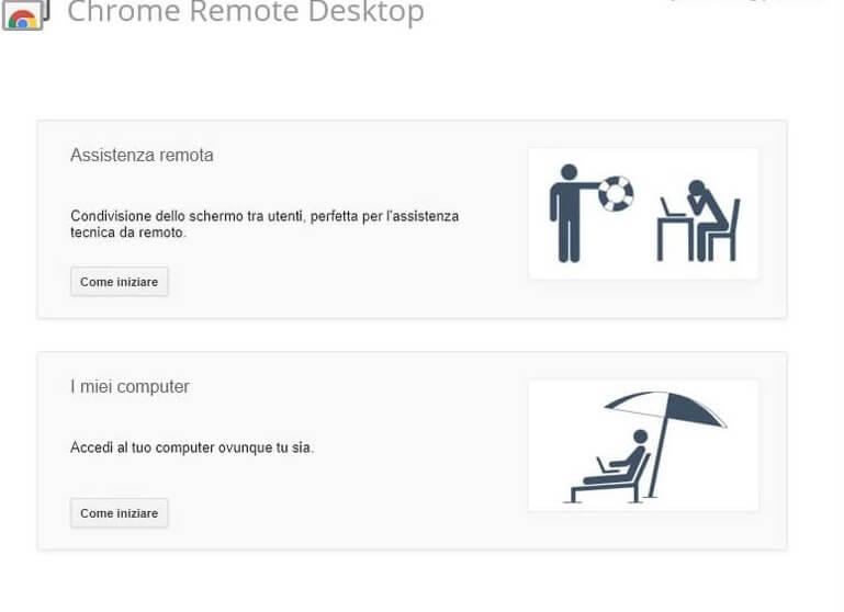 Schermata remote desktop