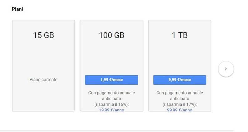 spazio di archiviazione cloud