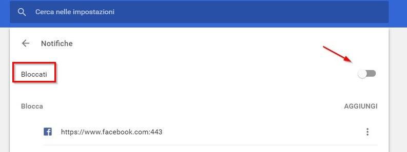 notifiche blocco - cerca nelle impostazioni