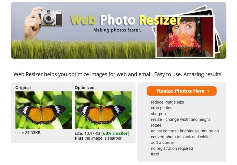 Web Photo Resizer (online)