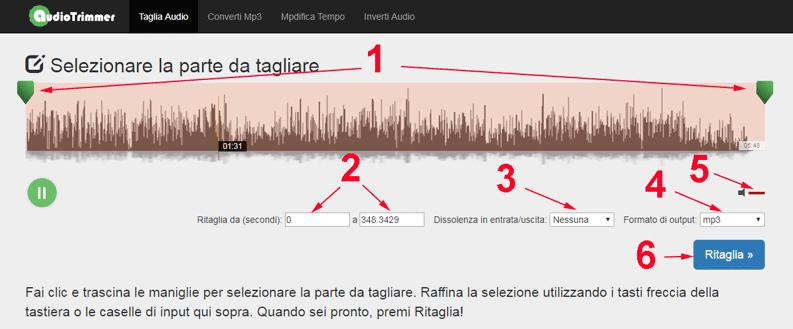 audiotrimmer come ritagliare canzoni online