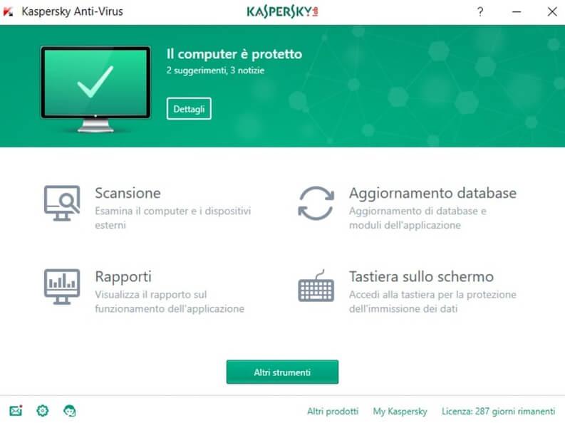 kaspersky antivirus 2017 risultato