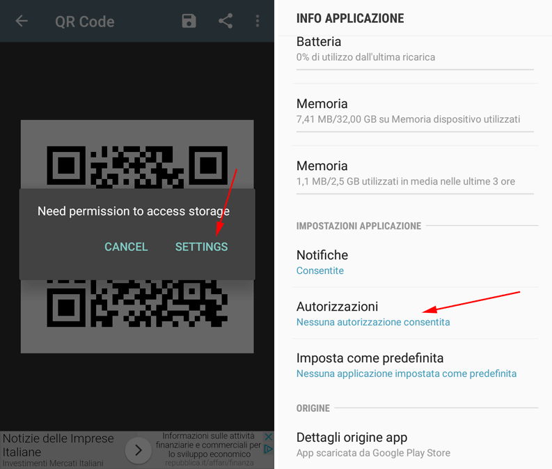 info su qr code android