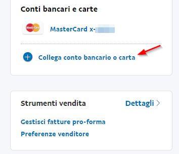 aggiungere conto bancario o carta Paypal