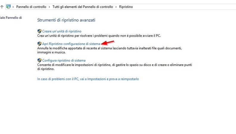 Ripristino configurazione di sistema windows