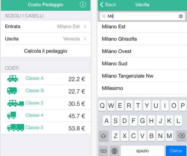 Applicazione Costo Pedaggio ios Iphone e iPad