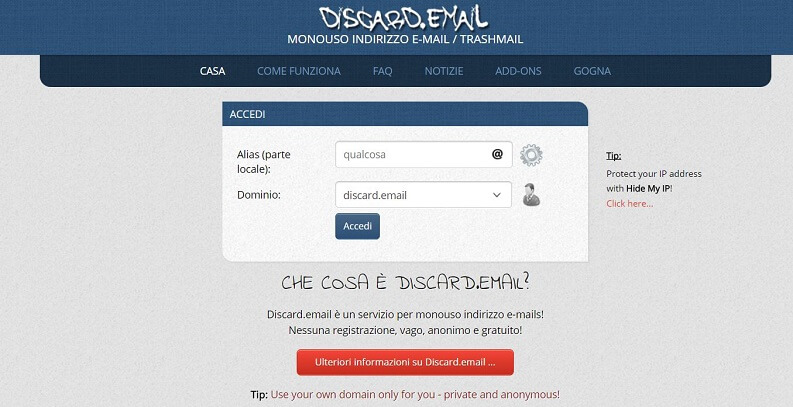 Discard email