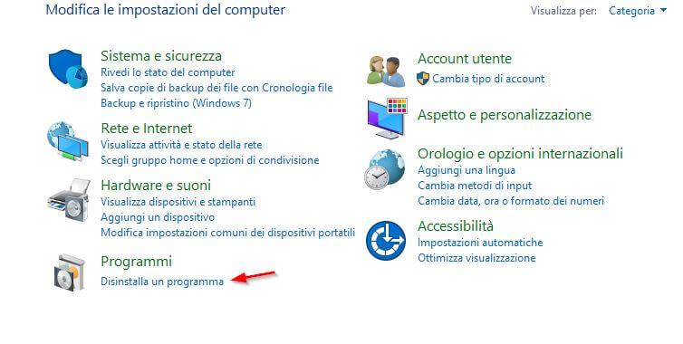 disinstallare programma windows 10