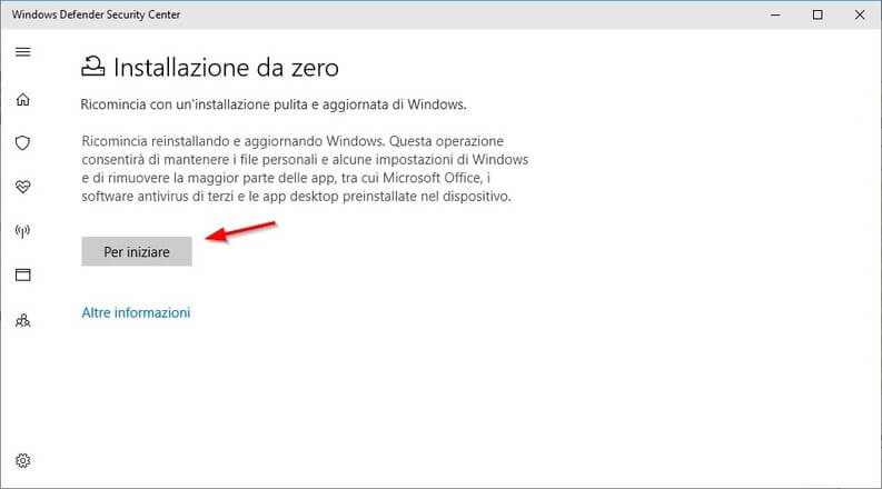 installazione pulita di Windows