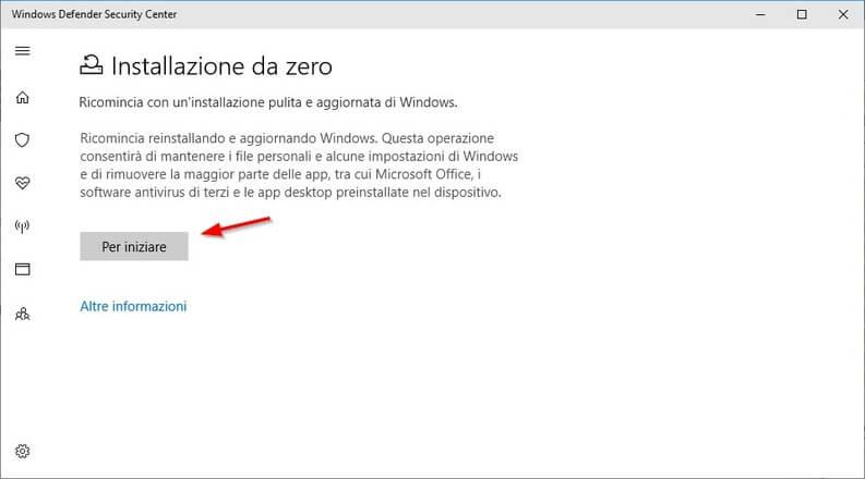 installazione pulita di Windows