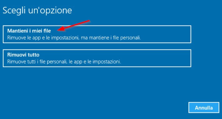 reimpostare windows e mantenere file
