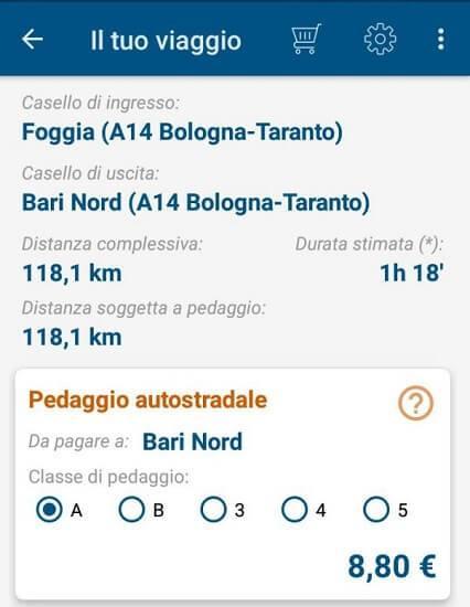 informazioni applicazione pedaggio autostradale