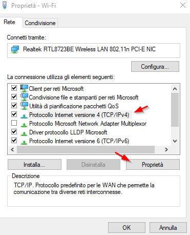 cambiare dns proprietà wifi
